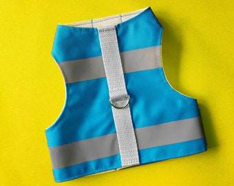 High Visibility Water-repellent Blue Safety Cat Harness with reflective strips. Difficult to escape. Handmade Vest | ALLCATSGOOD