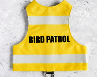 BIRD PATROL. Water-repellent Yellow Safety Cat Harness with reflective strips. Difficult to escape. Handmade Vest | ALLCATSGOOD