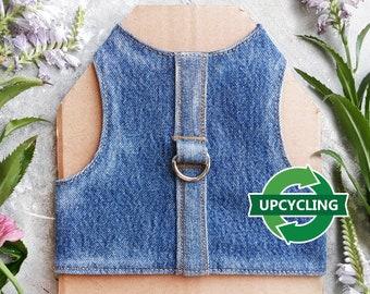Upcycling denim Cat Harness. Escape Proof. Handmade Vest. ALLCATSGOOD