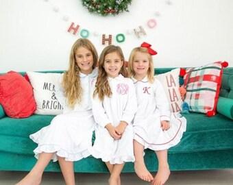 Girls Ruffle Nightgown, Girls Christmas Pajamas, Girls Ruffle Pajamas, Girls Christmas Nightgown, Monogram Nightgown, Girls Monogram Pajamas