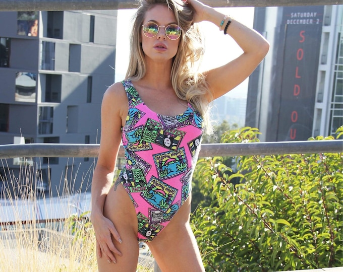 Welcome to Miami - 1980's Graphic Thong One-Piece