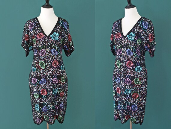 Sequin Dress Floral Jewel Toned New Years Silk 80s