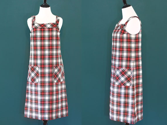 Plaid Sears Jr Jumper Dress Red Green 70s overalls
