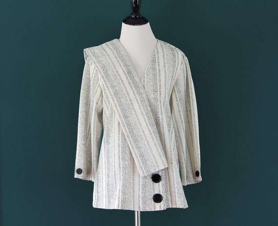 80s Asymmetrical Blouse Shirt Black and White Coll
