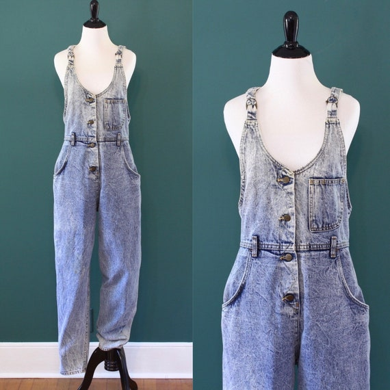 Acid Wash Denim Lee Overalls High Rise Waist 80s 1