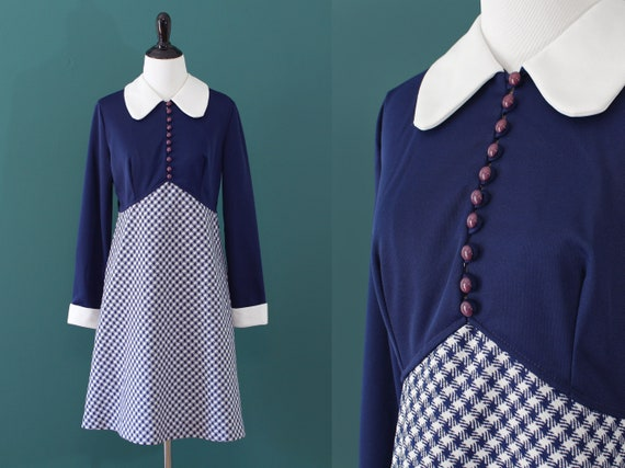 Navy White Houndstooth Print Polyester Dress Contr