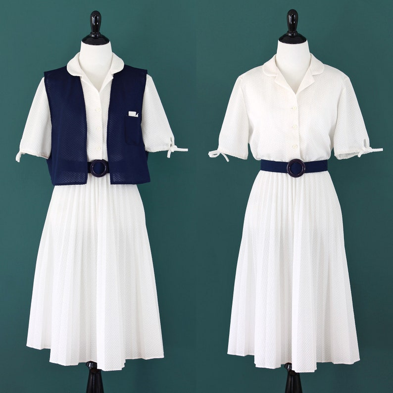 White Dress with Navy Vest and Belt vintage 70s textured pleated accordion skirt collared collar shirtdress 1970s