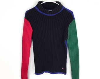 90s Tommy Hilfiger sweater color block black blue green red cable knit colorblock 1990s vintage