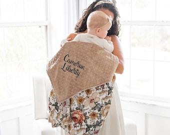Minky Baby Blanket - Personalized Baby Blanket Girl - Vintage Floral Blanket - Baby Shower Gift - Newborn Gift