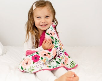 Personalized Baby Blanket Girl - Baby Shower Gift - Minky Baby Blanket - Newborn Gift