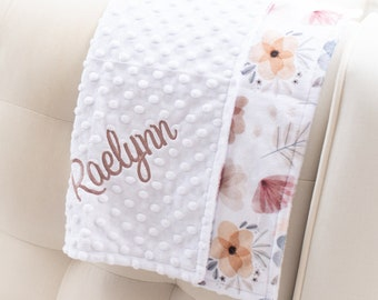 Minky Baby Blanket - Personalized Baby Blanket Girl - Muted Floral Blanket - Baby Shower Gift - Newborn Gift