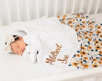 Sunflower Minky Baby Blanket - Personalized Baby Blanket for Girl - Custom Baby Shower Gift