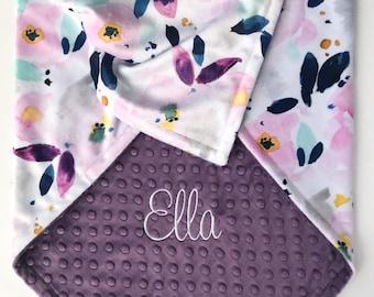 Floral Baby Blanket - Minky Baby Blanket - Personalized Baby Blanket - Watercolor Florals - Ultra Violet - Monogrammed Baby Blanket