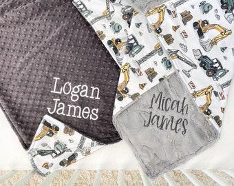 Personalized Baby Blanket Boy - Toddler Blanket - Baby Name Blanket - Minky Blanket - Construction Trucks
