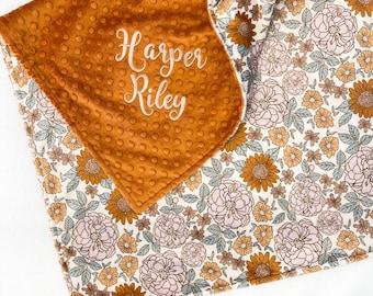 Minky Baby Blanket, Personalized Baby Blanket Girl, Boho Floral Blanket, Baby Shower Gift, Newborn Gift