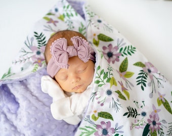 Lime Minky Swirl with Satin Ruffle Personalized Multiple Sizes Available Baby Girl Flower Child Minky Blanket
