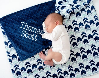 Personalized Baby Boy Blanket - Minky Baby Blanket - Blanket with Name - Baby Shower Gift