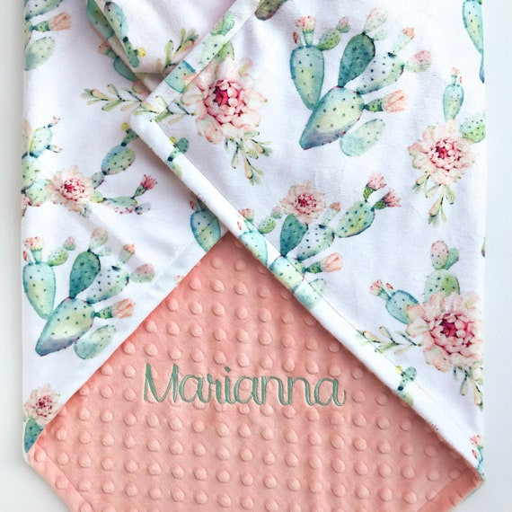 Watercolor Cactus Baby Blanket Personalized Baby Girl Gift   Etsy 22d9f81d21