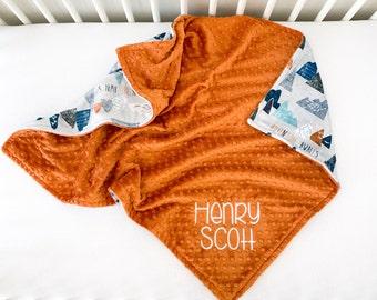 Personalized Baby Boy Blanket - Mountain Blanket for Boy - Woodland Minky Baby Blanket - Custom Baby Shower Gift