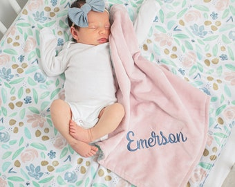 Personalized Baby Girl Blanket - Gift for New Baby - Floral Baby Blanket with Name - Baby Girl Minky Blanket - Baby Shower Gift