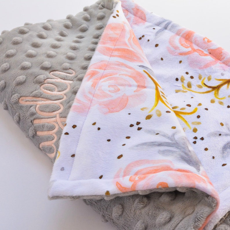 Personalized Baby Blanket Custom Baby Shower Gift Minky Blanket with Embroidery Pink and Gold Floral Blanket Baby Girl Name Blanket