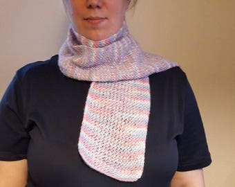 White, Pink, Blue Multicolored Handmade Scarf