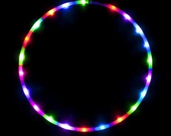 "The Hoop Shop® LED Hula Hoop - 28 Color Strobing LED Hula Hoop Lights - 3/4"" Inch HDPE Tubing - 7 Flashing Colors - Technicolor Prism"