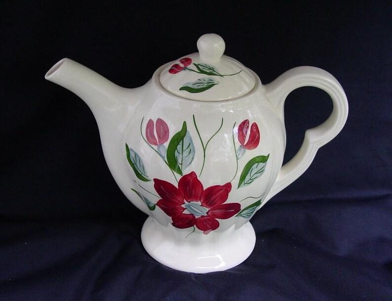 Blue Ridge Teapot POINSETTIA Vintage Tea Coffee Pot Southern image 0