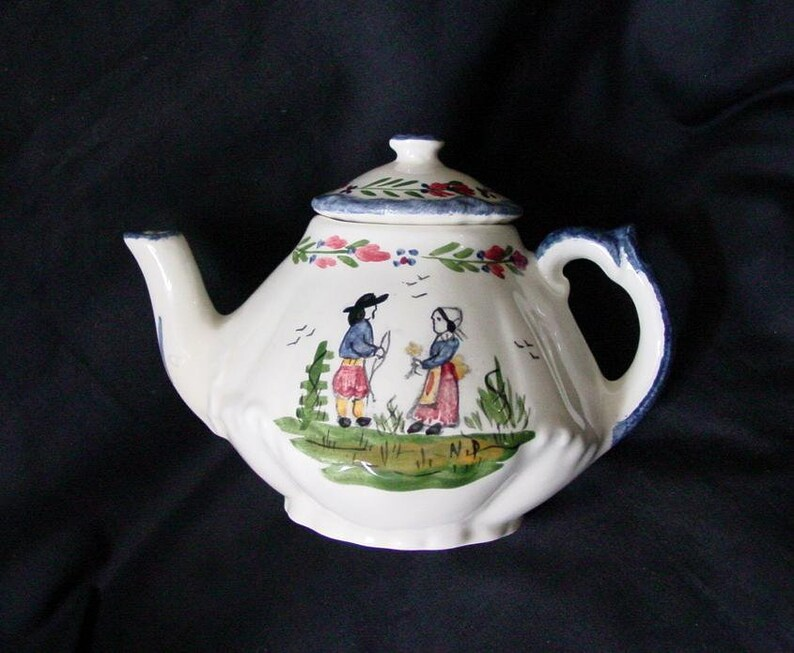 N Peterson Child's Teapot FRENCH PEASANT Teaset Miniature image 0