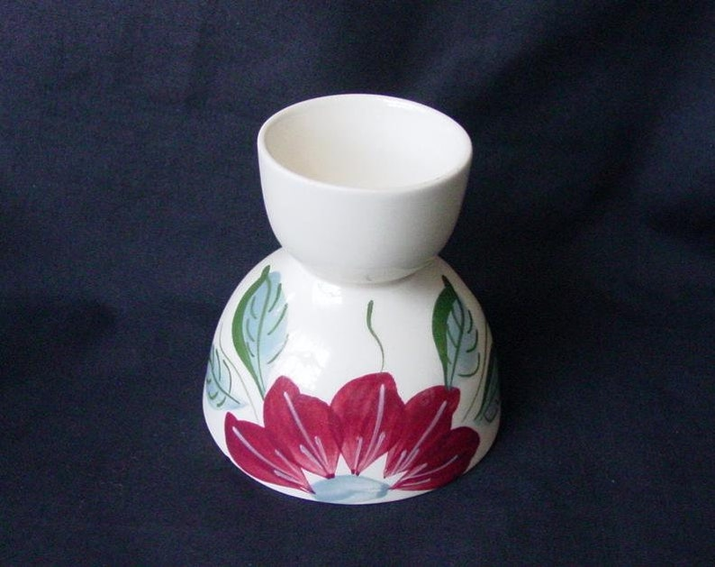 Blue Ridge RARE Egg Cup POINSETTIA Egg Cup Server Hand Painted image 0