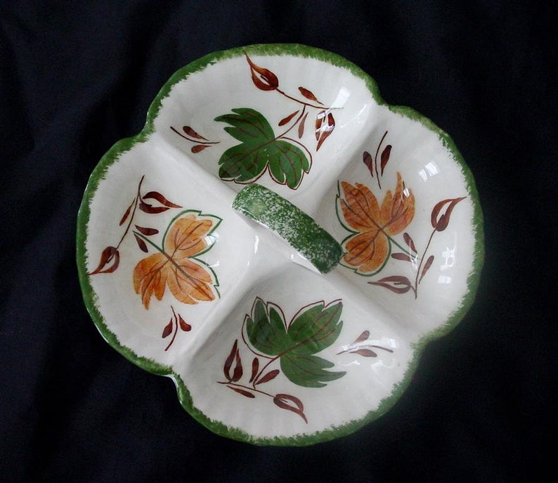 Blue Ridge CHINA 4-Part FALL COLORS Center Handle Dish Tray image 0