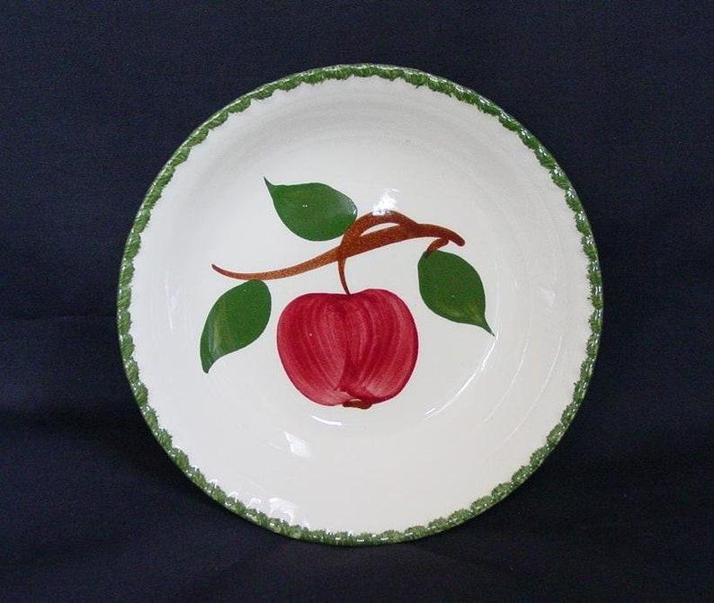 B15 5 14 Blue Ridge QUAKER APPLE Dessert Tapas Fruit Bowl 5.25 Side Dish CANDLEWICK Dinnerware Hand Painted Red Fruit Green Edge 1473
