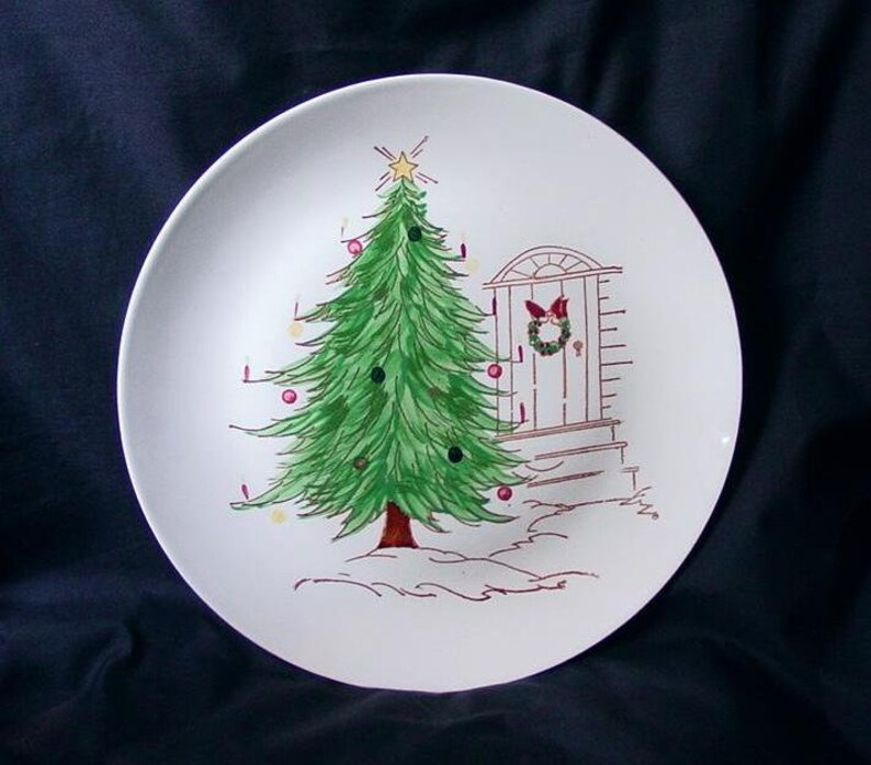 Christmas Dinnerware AWESOME Blue Ridge Xmas TREE Plate image 0