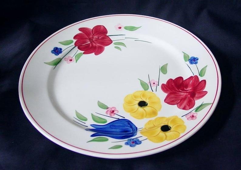RARE Like New Blue Ridge TERRI ANN 9.25 Lunch Plate Clinchfield Dinnerware Red Rose Blue Tulip Yellow Flower Superb Condition B15 6135
