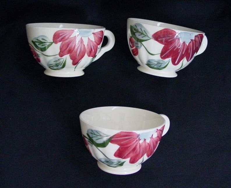 Blue Ridge POINSETTIA Cups Only Lot of 3 No Saucers COLONIAL image 0