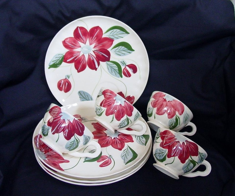 Lot of 4 SNACK SETS 8 Pieces Blue Ridge POINSETTIA 4 Party image 0