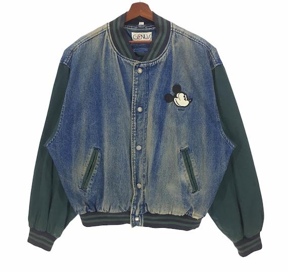 Vintage Mickey Mouse Denim Varsity Jacket