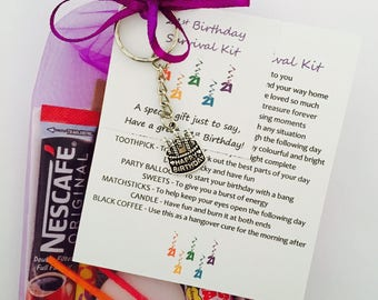 21st Birthday Survival Gift Kit Card For Her Him With Keyring Choose From Lilac Or Blue Beautiful Unique Present