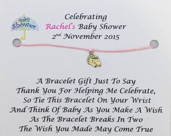 5 x Personalised Baby Shower Favours/Wish Bracelets/Gifts