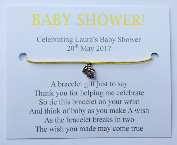 White 5 x Personalised Baby Shower Wish Bracelets Favours//Gifts Bow Design