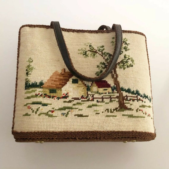 Vintage 1950's Needlepoint Cottage Scene Handbag B