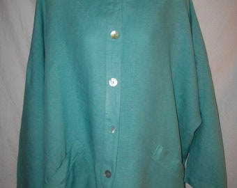 Vintage Bryn Walker 100% Linen 3/4 Sleeve Mandarin Collar Button Front Jacket Sz L