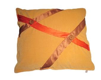 Beige velor cushion orange line