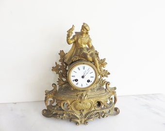French Gold Finish Mantal Clock-Young Boy with Bird