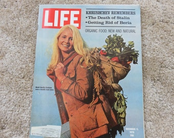LIFE Magazine December 11, 1970, Organic food new and natural, model Gunilla Knutson owns a health food store