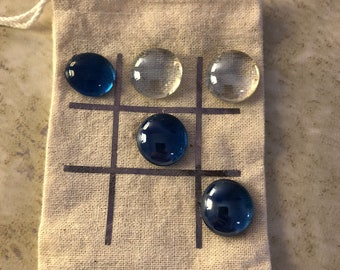 Tic Tac Toe travel game with marble pieces