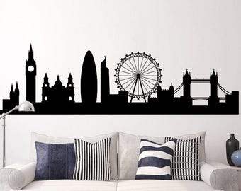 London - Skyline Decal - Cityscape Wall Decal - London Silhouette Wall mural - removable