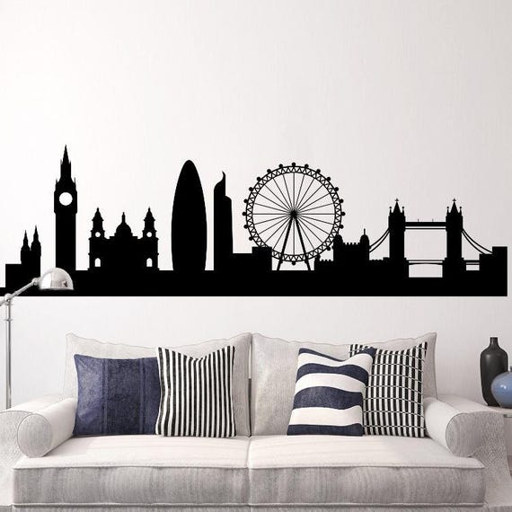 London Skyline Decal Cityscape Wall Decal London Silhouette Wall Mural Removable