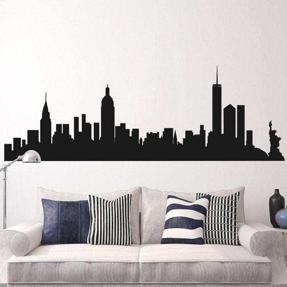 New York City Skyline Wall Sticker NYC Silhouette Inspired Vinyl Mural Art Decor