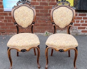 Pair Antique 19th Century Satinwood Ebony Carved Victorian Parlour Chairs c.1880
